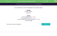 'Add Two Two-Digit Numbers (2)' worksheet