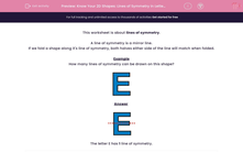 'Know Your 2D Shapes: Lines of Symmetry in Letters' worksheet