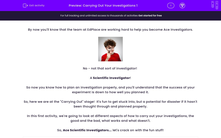 'Carrying Out Your Investigations 1' worksheet