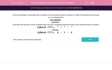 'Multiply Decimals and Estimate the Answer' worksheet