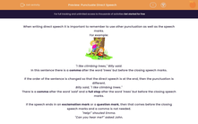 'Punctuate Direct Speech' worksheet