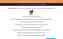 'Understand the Features of Instructional Texts' worksheet