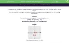 'Coordinate Grids: Missing Corners' worksheet