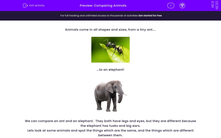 'Comparing Animals' worksheet