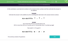'Estimate the Answer to an Addition by Rounding' worksheet