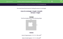 'Areas of Compound Shapes (Squares only)' worksheet
