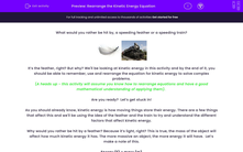 'Rearrange the Kinetic Energy Equation ' worksheet