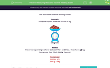 'Measuring Mass and Volume: Reading Scales' worksheet