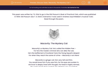 'Discuss Texts: 'Macavity: The Mystery Cat' 1' worksheet