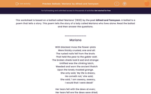 'Ballads: 'Mariana' by Alfred Lord Tennyson' worksheet