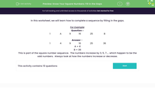'Know Your Square Numbers: Fill in the Gaps' worksheet