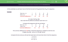 'Find the Formula for the General Term, Tn, of a Sequence' worksheet