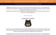 'Read and Understand: 'The Boy Who Cried Wolf'' worksheet