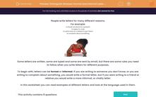 'Distinguish Between Formal and Informal Letter Writing' worksheet