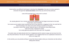 'Develop Characters Through Dialogue and Action' worksheet