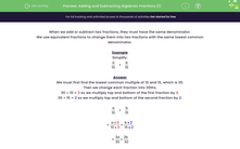 'Adding and Subtracting Algebraic Fractions (1)' worksheet