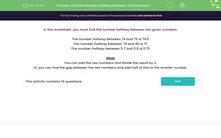 'Find the Number Halfway Between Two Numbers' worksheet