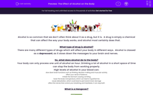 'The Effect of Alcohol on the Body' worksheet