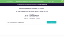 'Units of Measure: Converting Kilometres to Metres' worksheet