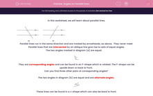 'Angles on Parallel lines' worksheet