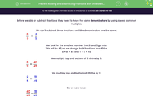 'Adding and Subtracting Fractions with Unrelated Denominators' worksheet