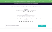 'Numbers in an Ascending Sequence: Fill in the Gaps' worksheet