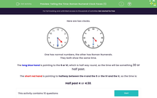 'Telling the Time: Roman Numeral Clock Faces (1)' worksheet