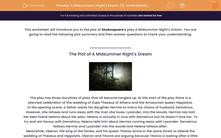 'A Midsummer's Night's Dream (1): Understanding the Plot' worksheet
