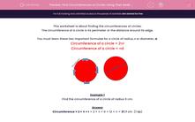 'Find Circumferences of Circles Using Their Radii (2)' worksheet