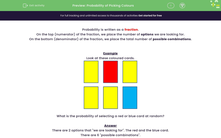 'Probability of Picking Colours' worksheet