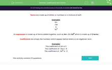 'Coefficients and Terms' worksheet