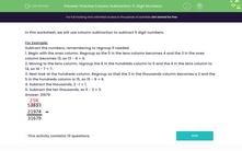 'Practise Column Subtraction: 5-Digit Numbers' worksheet