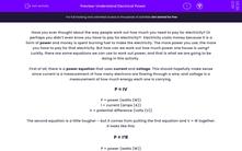 'Understand Electrical Power' worksheet