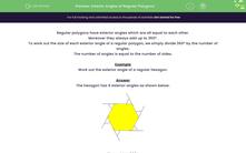 'Exterior Angles of Regular Polygons' worksheet