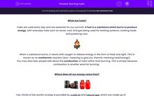 'Burning Fuels' worksheet