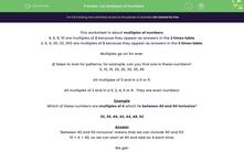 'List Multiples of Numbers' worksheet