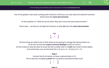 'Add and Subtract Fractions with Different Denominators' worksheet