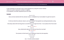 'Solve Equations (of the form ax + b = c) Using the Inverse Method' worksheet
