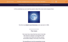 'Compare Poems on a Similar Theme: 'The Moon' and 'Is the Moon Tired?'' worksheet