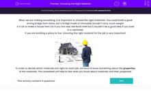 'Choosing the Right Material' worksheet