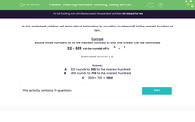'Three-Digit Numbers: Rounding, Adding and Estimating' worksheet