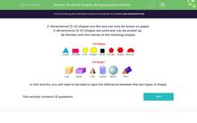 '2D and 3D Shapes: Recognising Descriptions' worksheet
