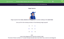 'Magic Squares with Positive and Negative Numbers' worksheet