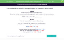 'Practise Combined Addition and Subtraction of Decimal Numbers' worksheet