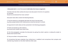 'Understand the Features of Discussion Texts' worksheet