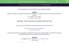 'Multiplying Out Two Brackets and Simplifying' worksheet
