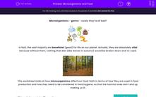 'Microorganisms and Food' worksheet