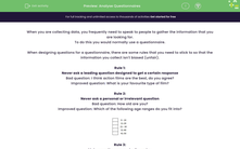'Analyse Questionnaires' worksheet