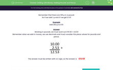 'Adding with Money: Adding Pounds and Pence' worksheet