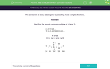 'Add and Subtract More Complex Fractions' worksheet